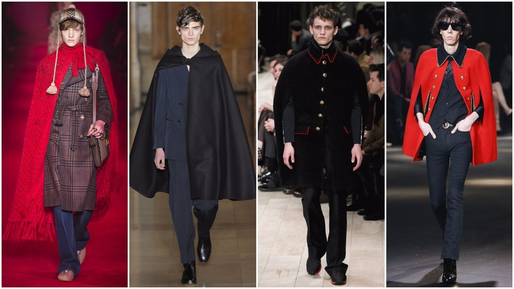 Left to right: Gucci, Lemaire, Burberry, Saint Laurent.