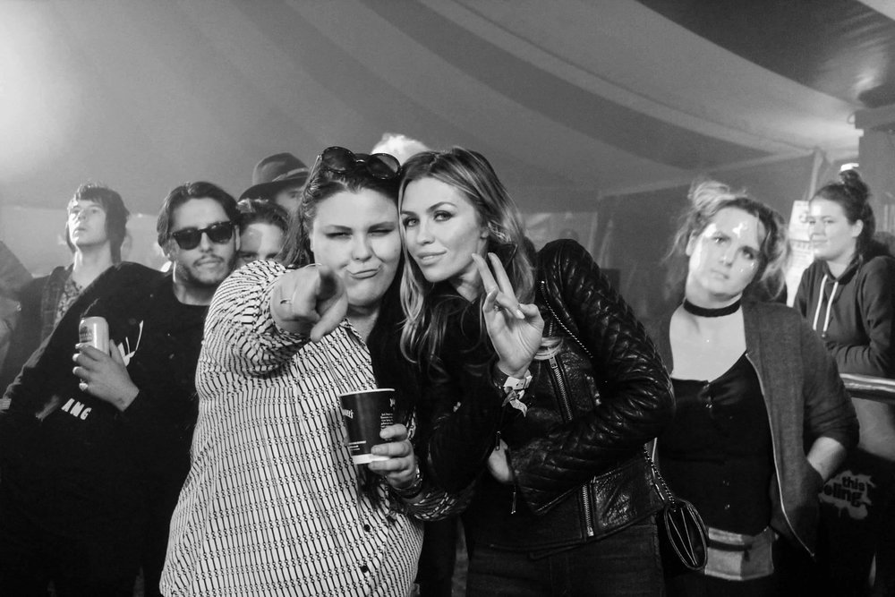 Abbey Clancy and Bang Bang Romeo backstage at Leeds.
