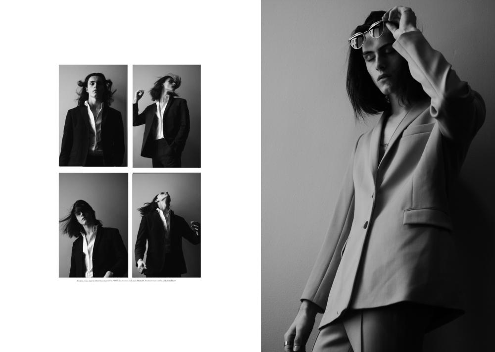 1. Fredrick wears a black jacket by  VISTULA  Trousers by  GRETA GRAM  Shirt by  BRITT SISSECK   2. Full Suit by  LALA BERLIN  Sunglasses by  ACE & TATE