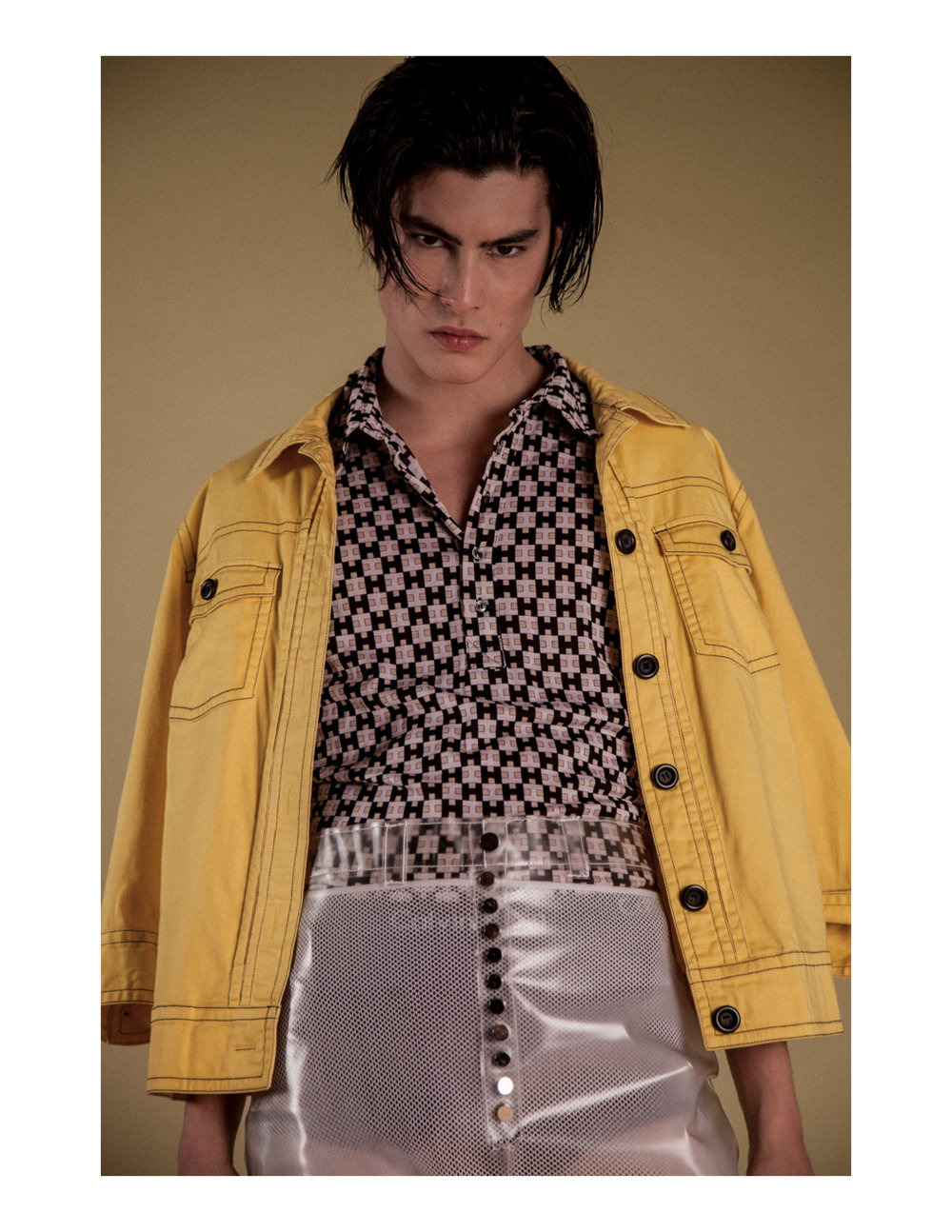 Vintage yellow jacket Shirt by  Fendi  Clear shorts & mesh bell bottoms by  Ruojing Wang