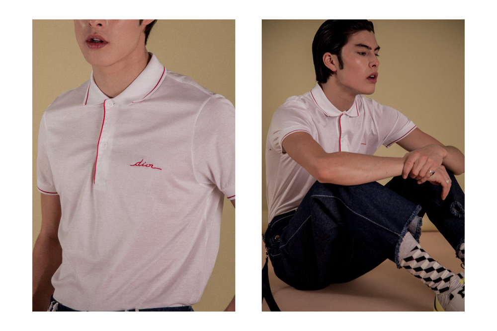 Vintage Shirt by  Dior Homme  Denim by  Ruojing Wang  Sneakers by  Kenzo