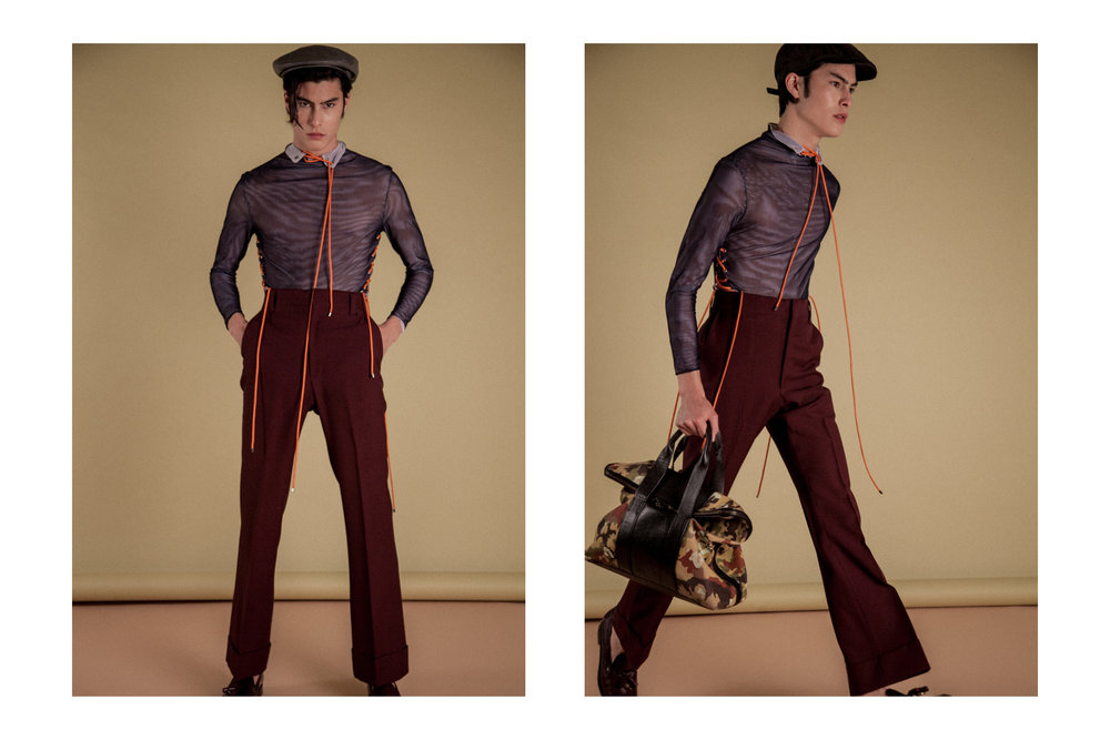 Top by  Ruojing Wang   Trousers by  Orley  Shoes by  Paul Smith  Bag by  Phillip Lim