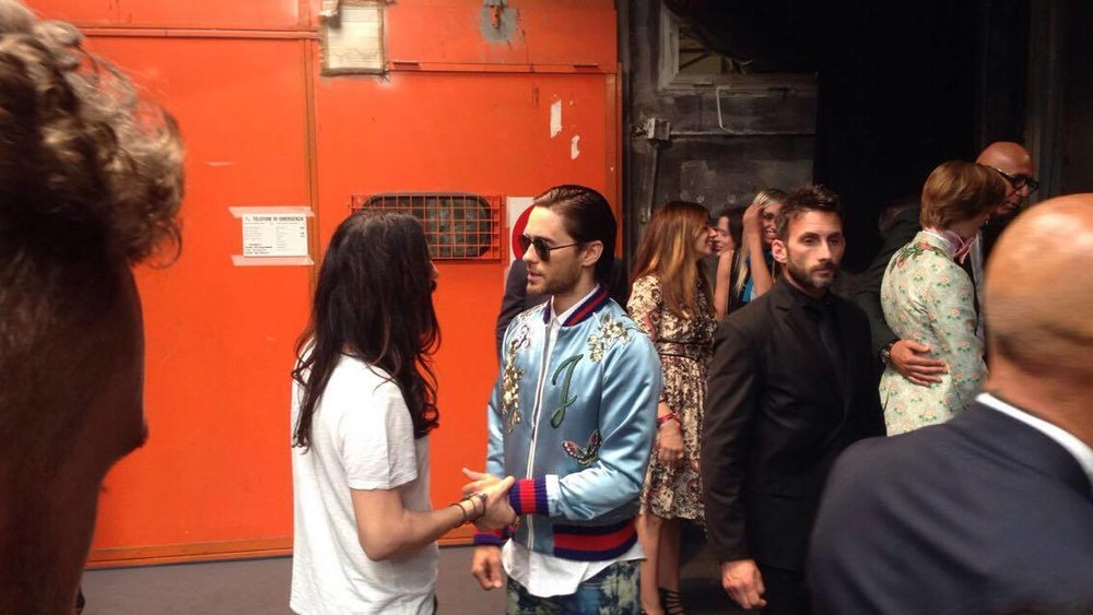 Alessandro Michele and Jared Leto backstage at the Gucci show.