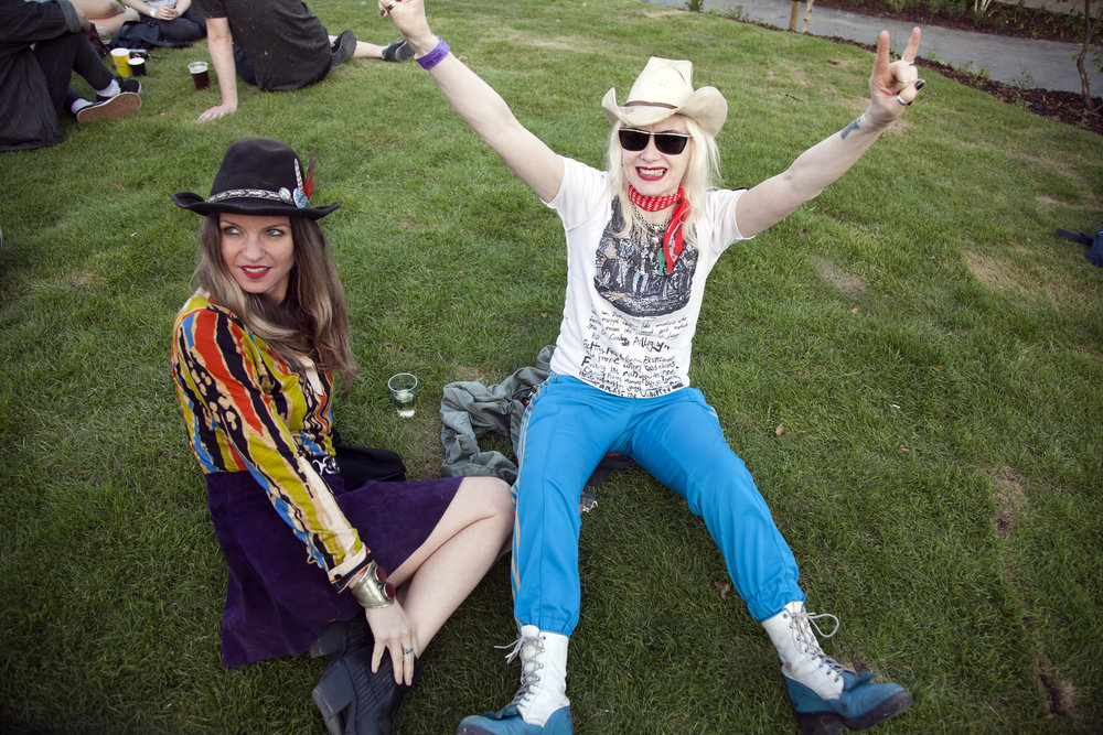 Pam Hogg (R) and a friend (L) shot by Wanda Martin.
