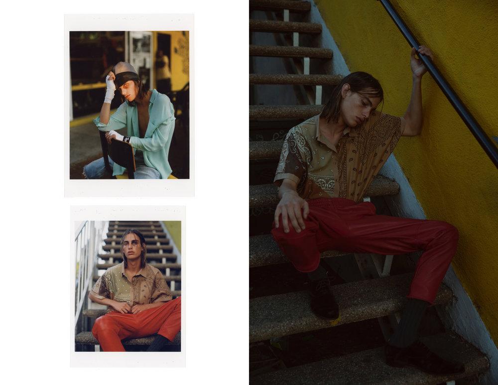 (Left) Hat - Prada  Sheer top - Jenni Kayne Shorts - Levi's    (Right)   Red leather pants & Bandana top - Brian Lichtenberg