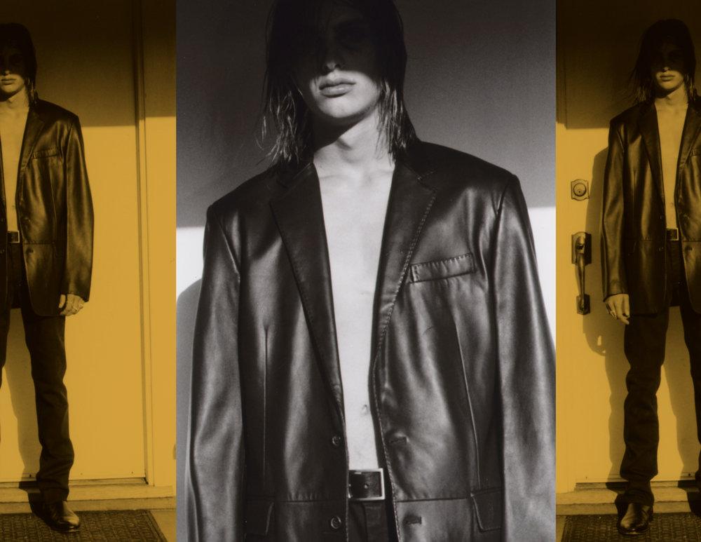 Black jeans - Acne Black leather blazer - Barney's Belt - Saint Laurent Boots - Ralph Lauren