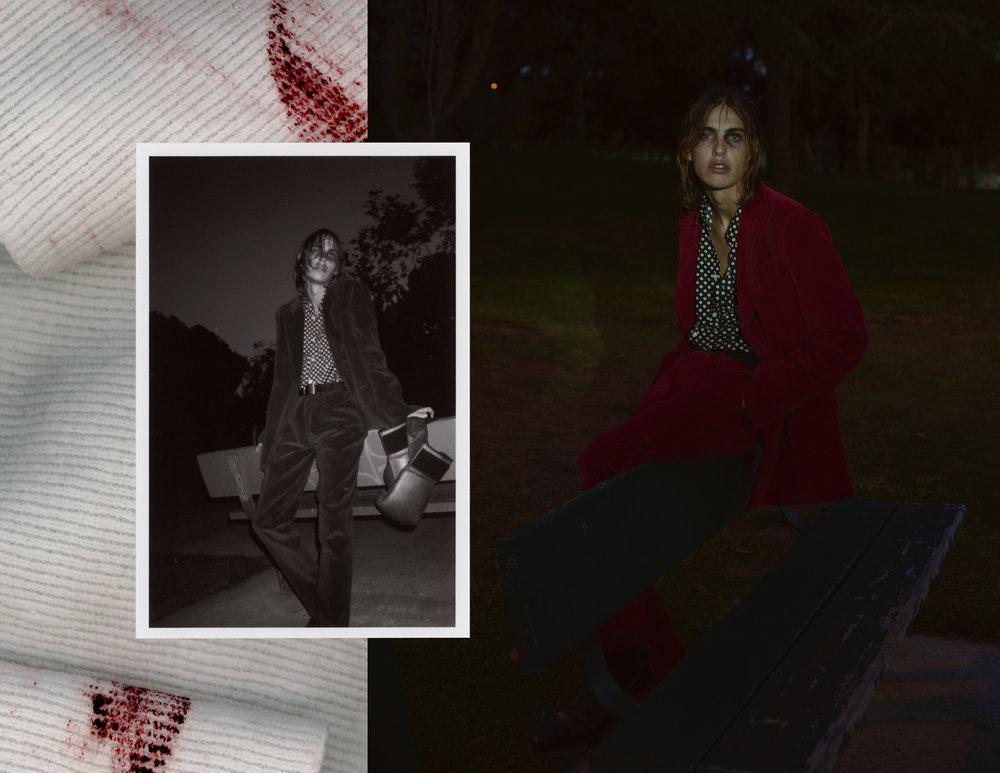 Red suit corduroy - Giorgio Armani Shirt - Supreme Black belt - Ralph Lauren Boots - Saint Laurent