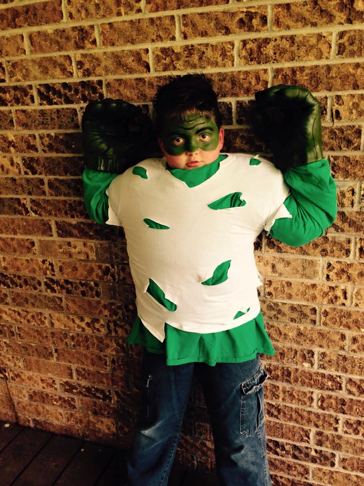 Owen dressed up as Holt's favorite superhero - the Hulk!
