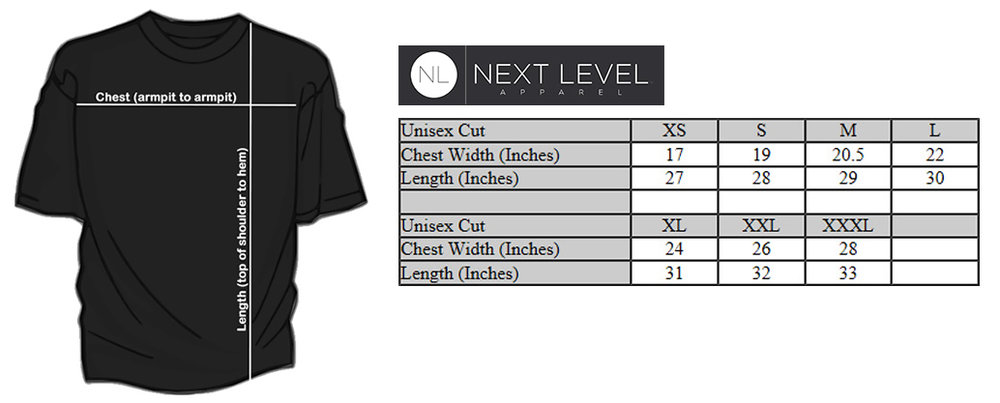 Next Level Sizing Chart — Adult Sizes Only