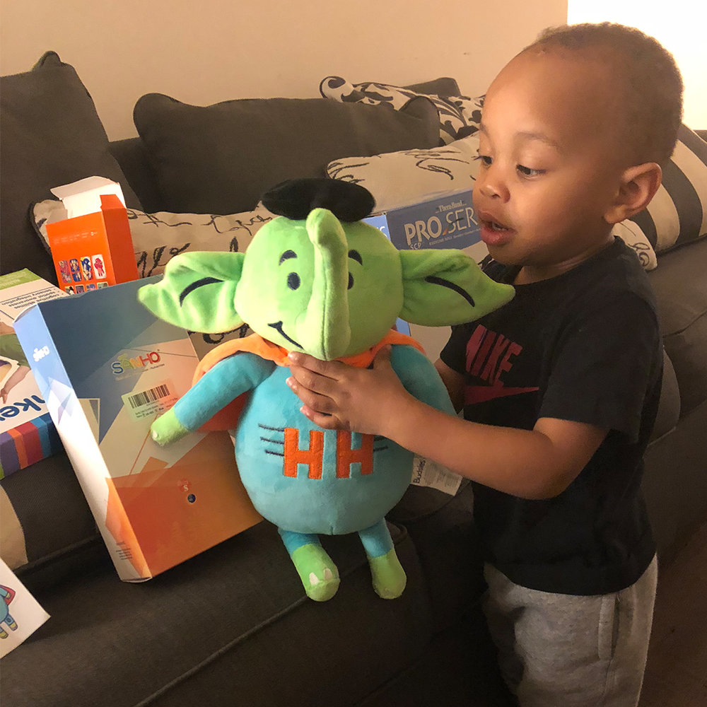 Sire ignoring all his new therapy equipment to get his hands on Holton the Elephant.We don't blame ya buddy!