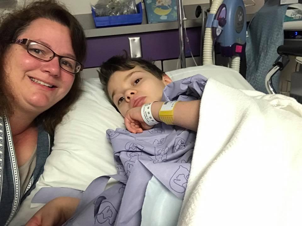 Gabe and his mom at hospital