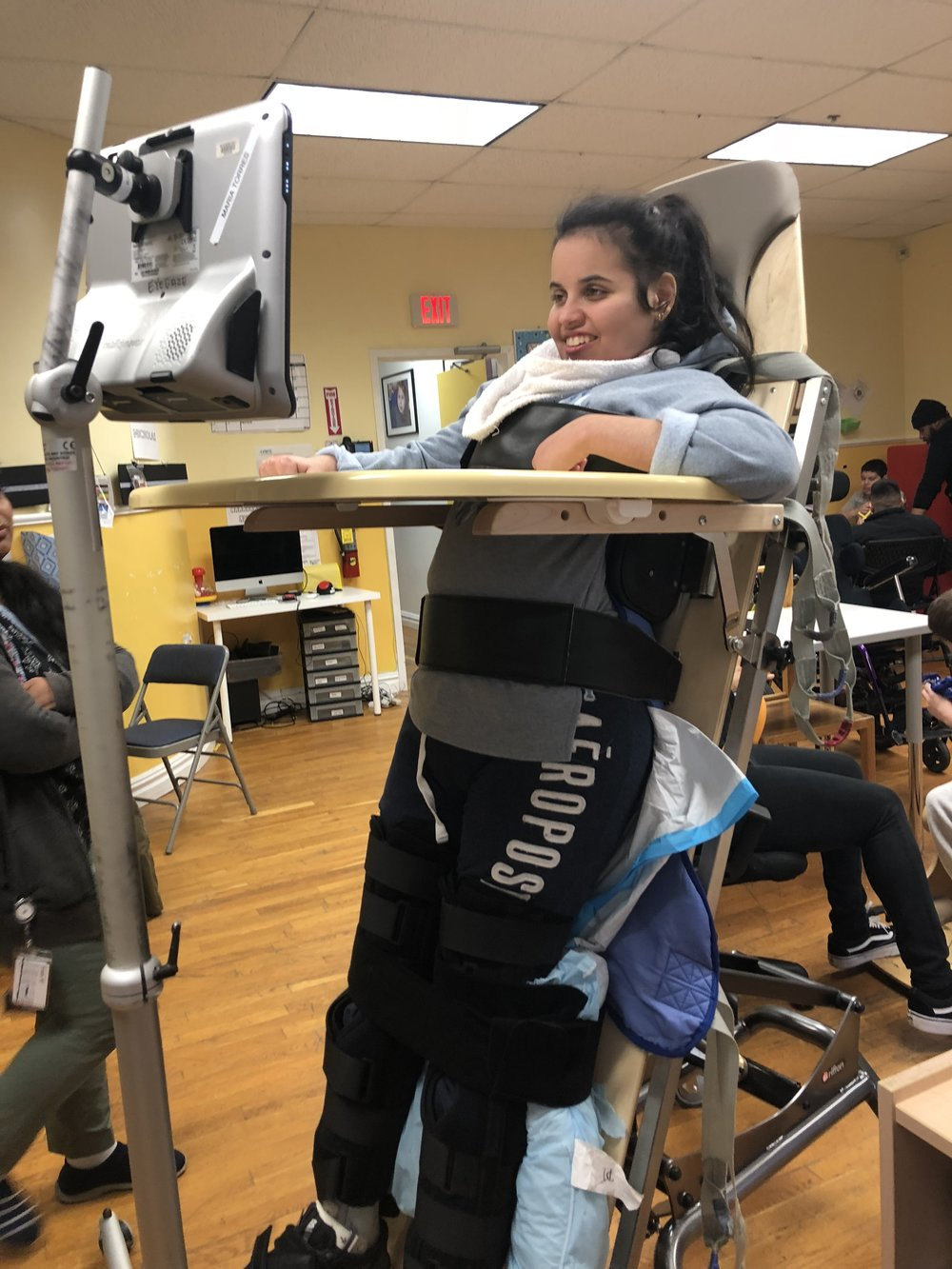 Maria enjoying her new stander from Holton's Heroes.