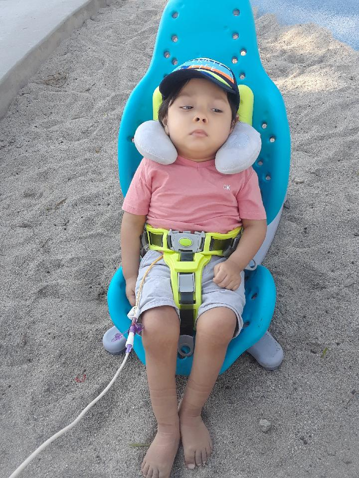 His new bath chair is also great in the sand1