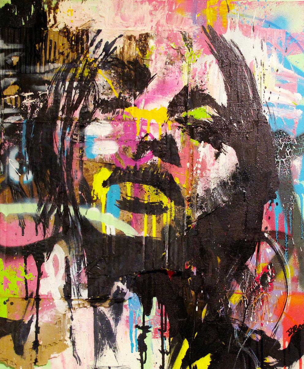 """""""Ce que vous en pensez"""" Acrylic & Spray 54 x 64,5 cm 2013"""