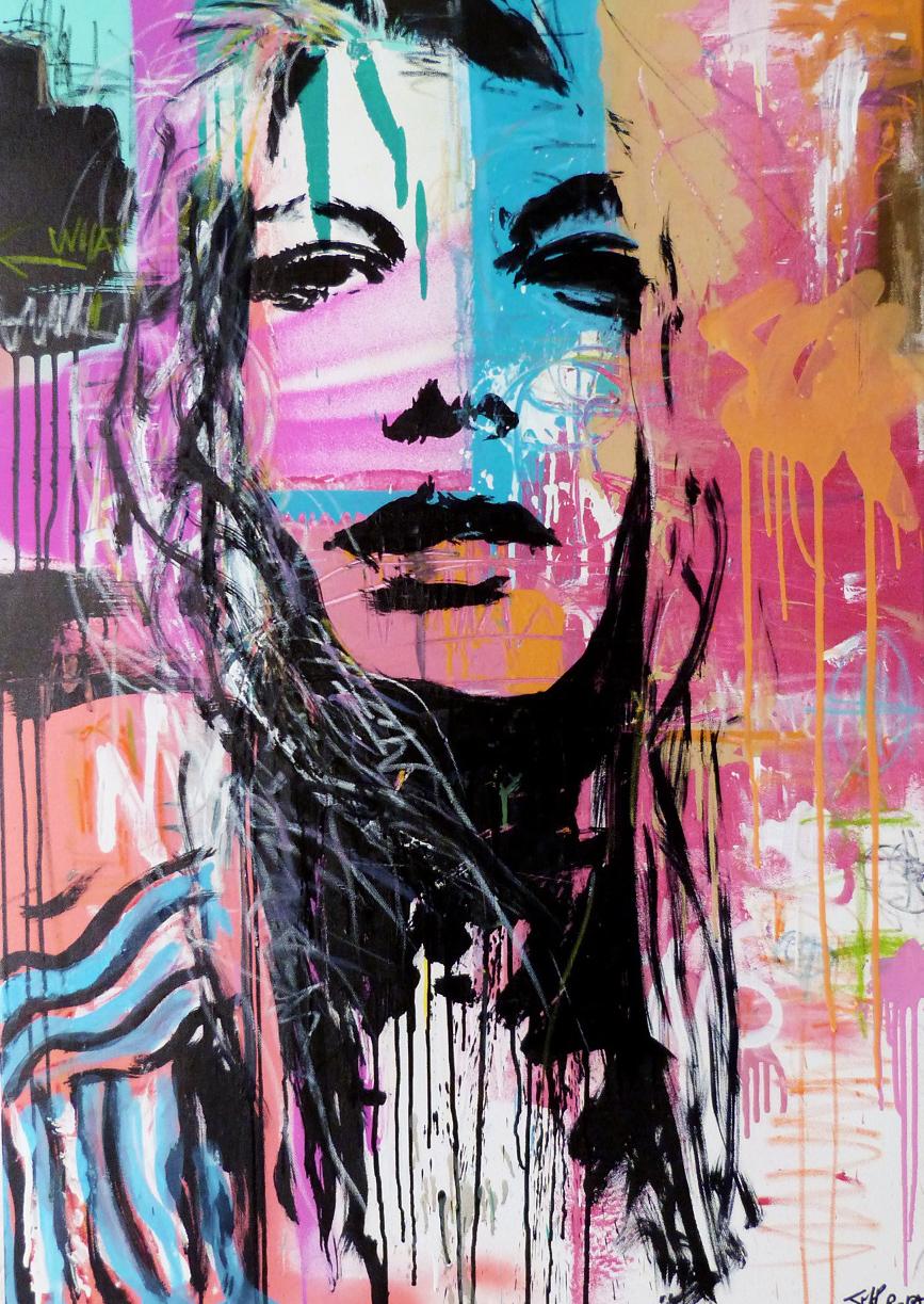 """""""Regarder les choses en face"""" Acrylic & Spray 70 x 100 cm 2013"""