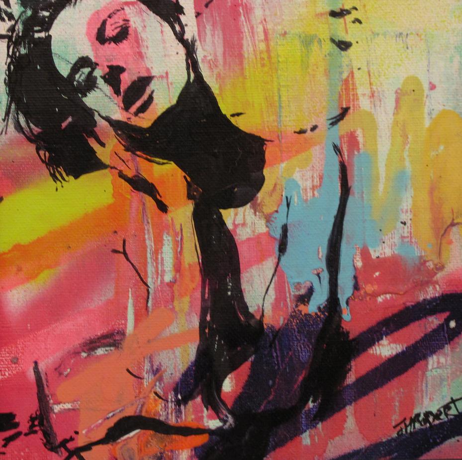 """""""Fille 1 – 4"""" Acrylic & Spray 23 x 23 cm framed 2013"""