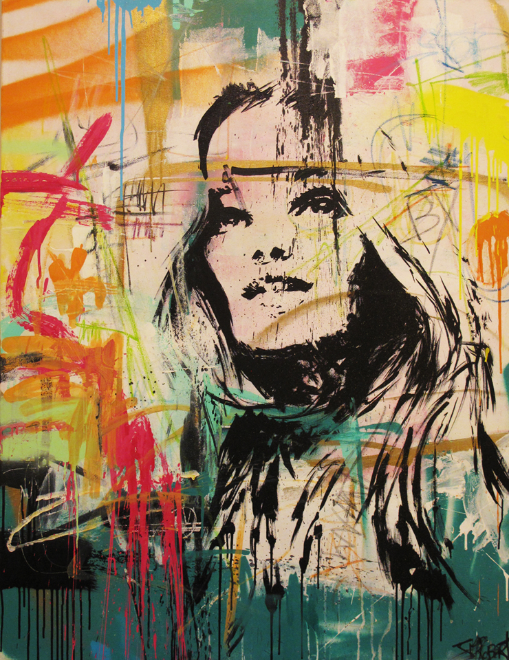"""Jamais indifferente"" Acrylic & Spray 89 x 116 cm 2013"