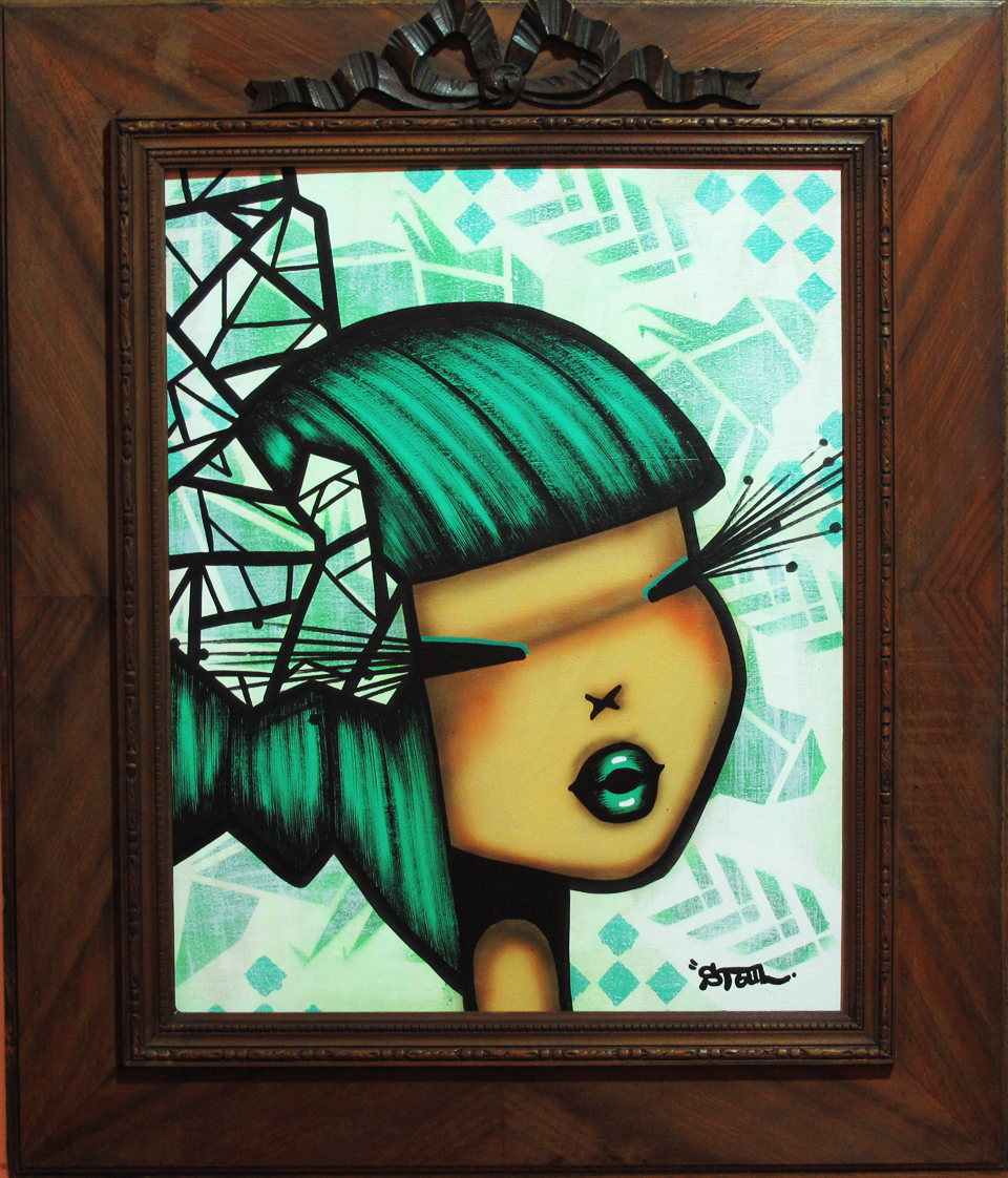 """Abstract bibi koi green"" Acrylic on wood 56 x 68 cm (wooden frame)  2013"