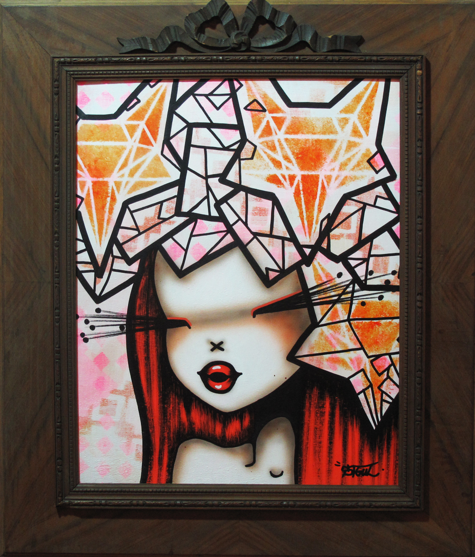 """Abstract Corona Foxy"" Acrylic on wood 58 x 68 cm (wooden frame) 2013"