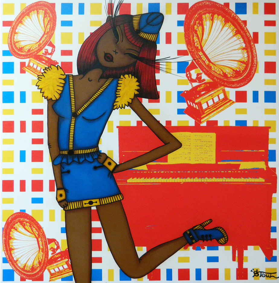 """Boogie Woogie Sister"" Acrylic, oil on printed canvas 100 x 100 cm 2013"