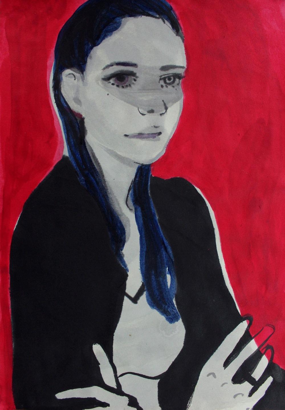 """""""Girl 4"""" Acrylic 50 x 38 cm (framed) 2013"""