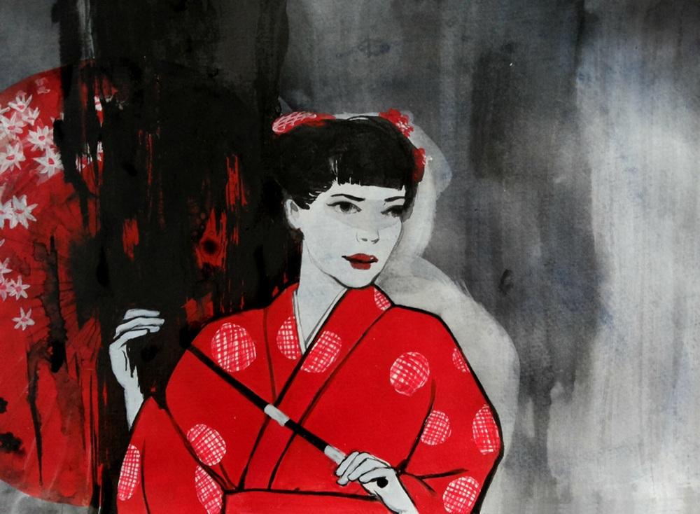 """""""Girl 7"""" Acrylic 50 x 38 cm (framed) 2013"""