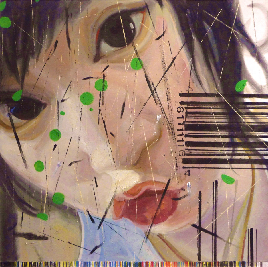 """Barcode 1"" Oil on Canvas 80 x 80 cm 2011"