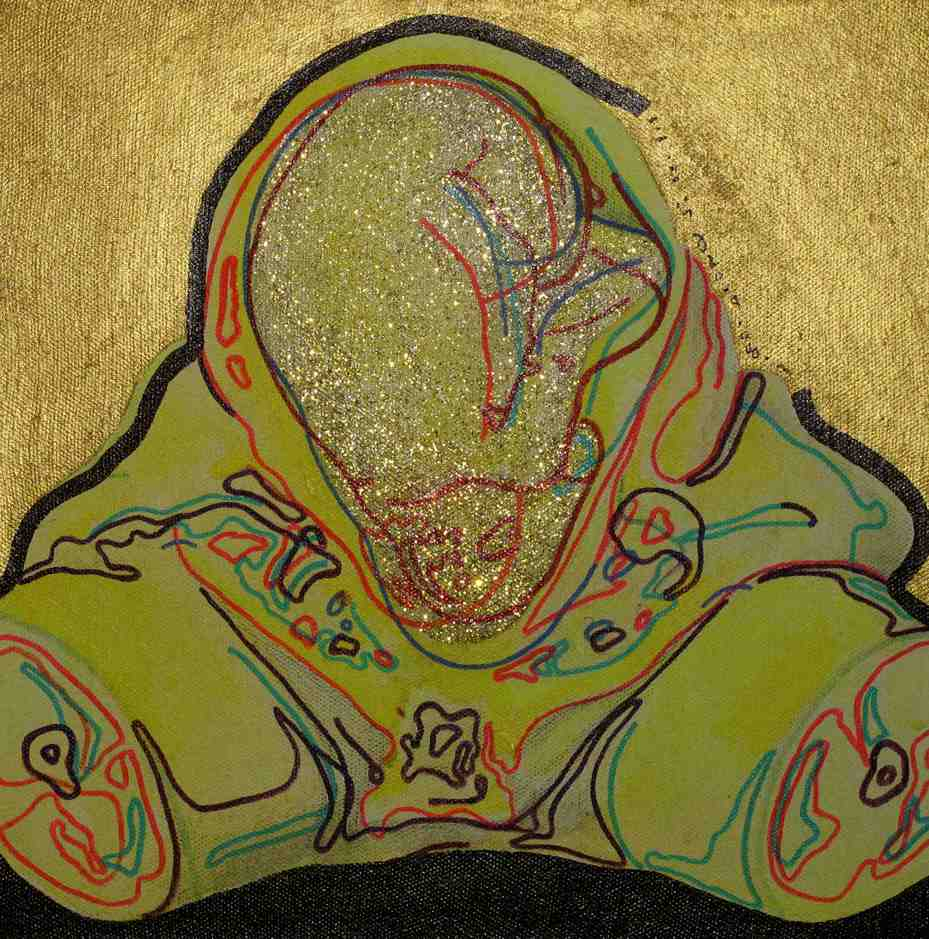"""Foetus 5"" Acrylic on Canvas 40 x 40 cm 2009"