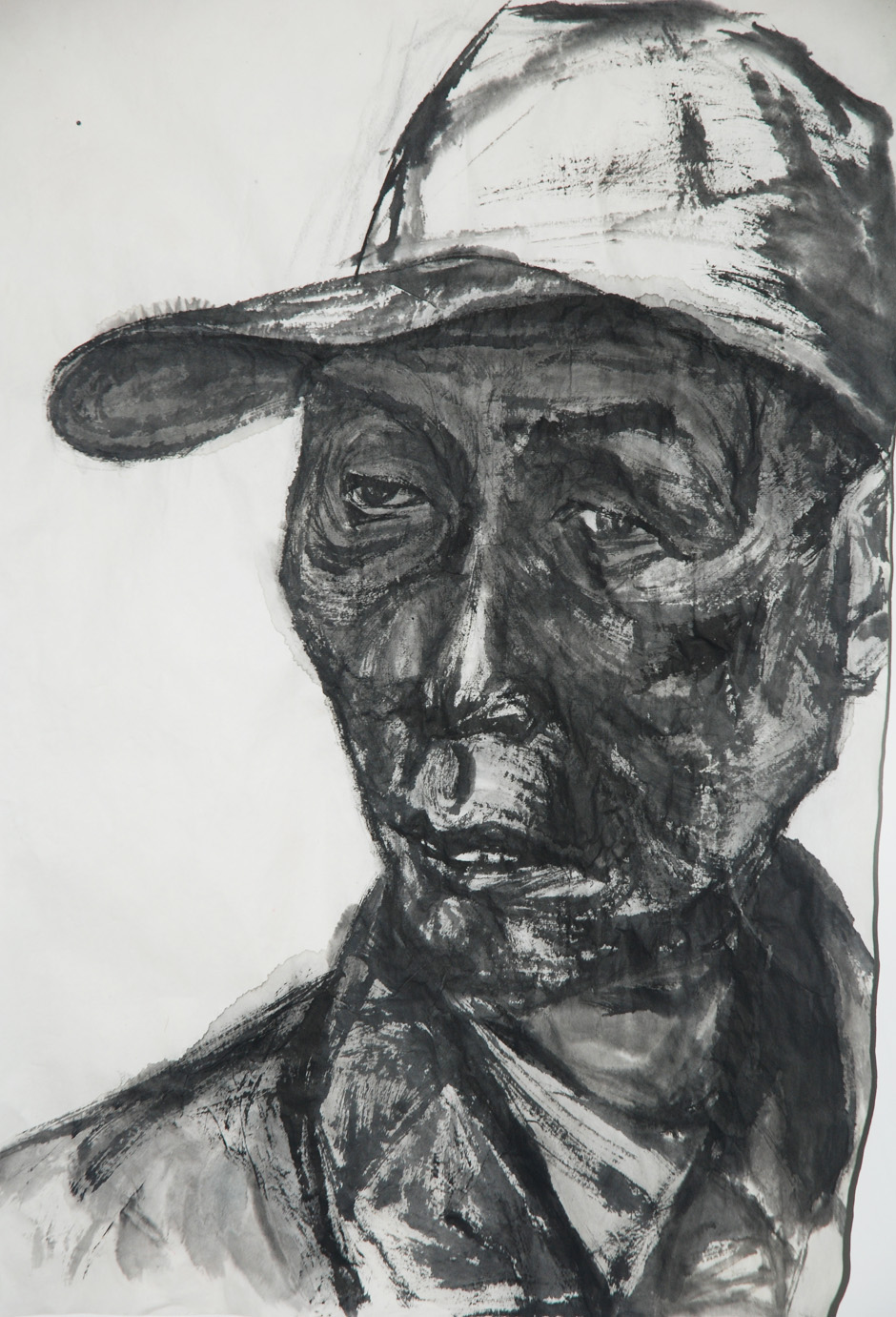 """Immigrant Worker 2 in Chengdu""   Ink on Chinese paper   55 x 80 cm   2011"