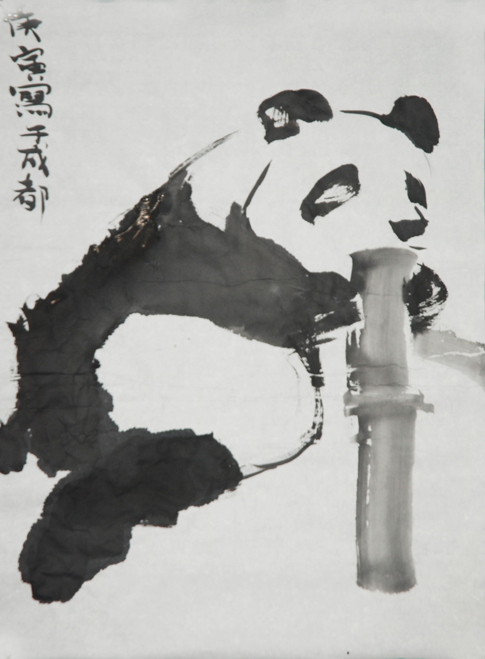 """Panda 3""   Ink on Chinese paper   46 x 58 cm   2010"