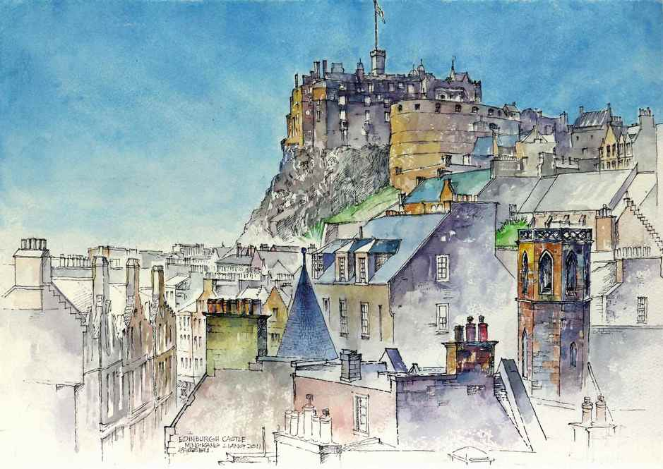 """Edinburgh castle, Scotland"" Water colour 40 x 30 cm 2011"