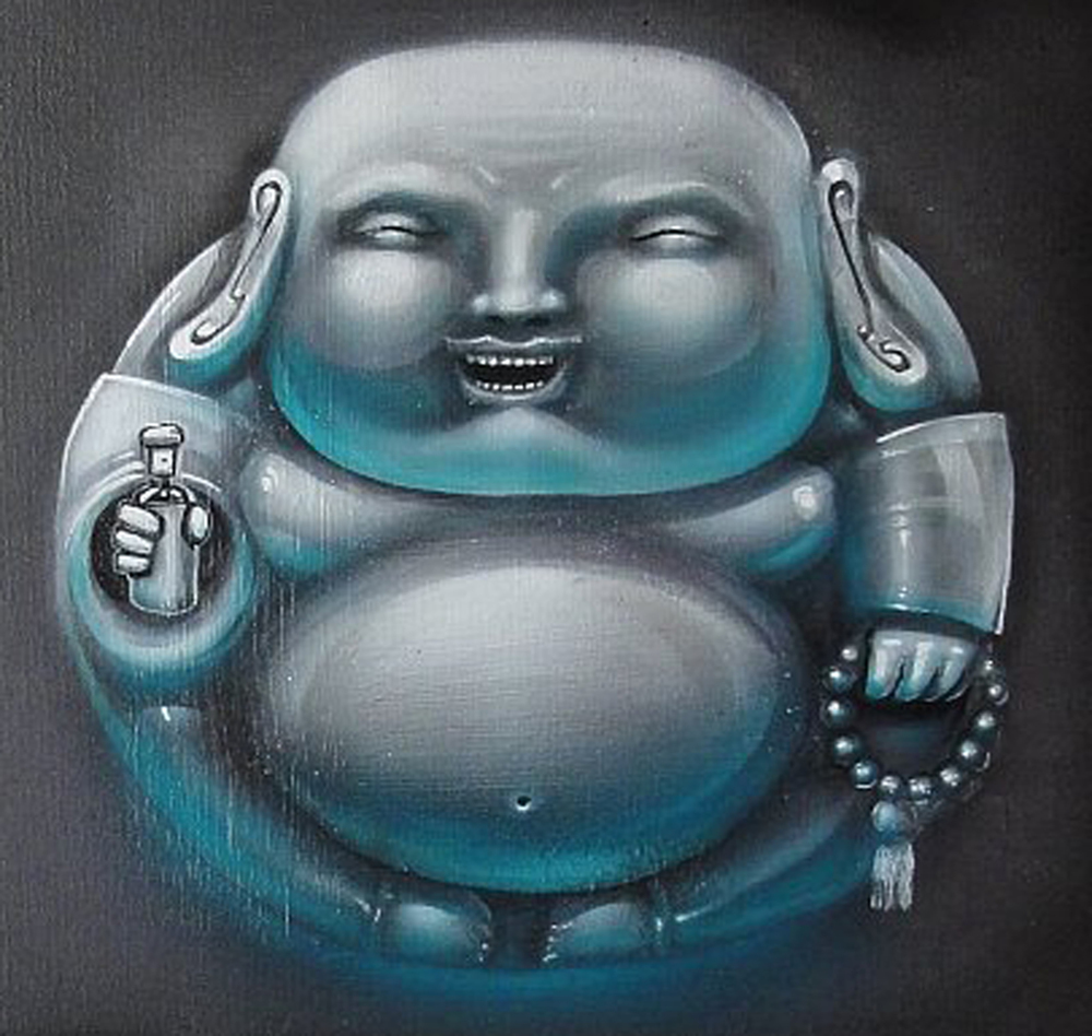 """Little Buddha"" Acrylic & Spray 30 x 30 cm 2013"