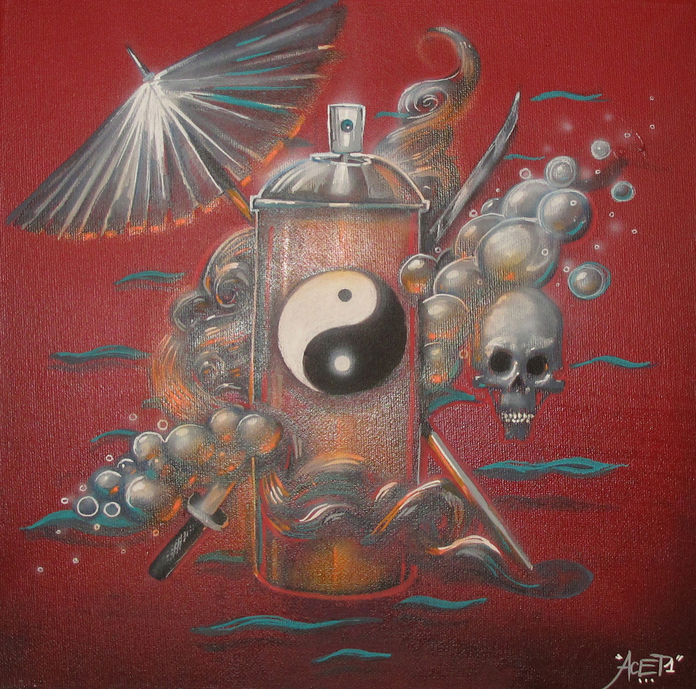 """Spray can"" Acrylic & Spray 30 x 30 cm 2013"
