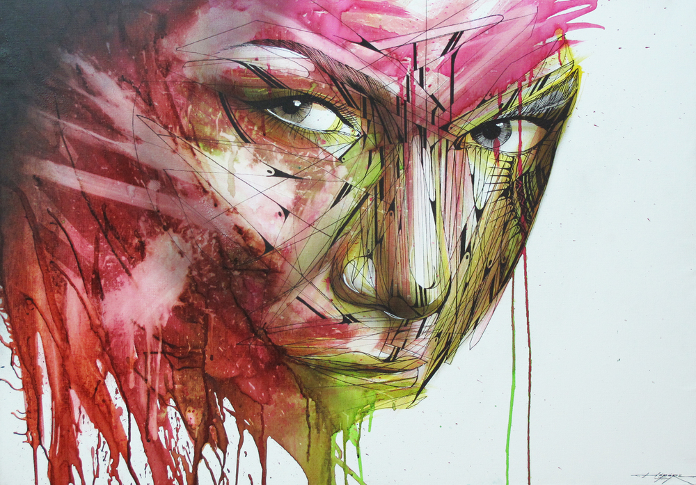 """Charme"" Spray/Ink 70 x 100 cm 2014"