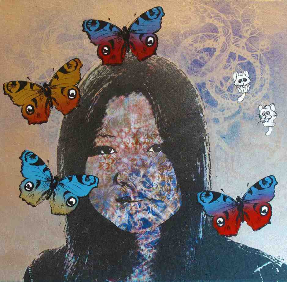 """Li with Butterflies"" Mixed media on Canvas 50 x 50 cm 2009"