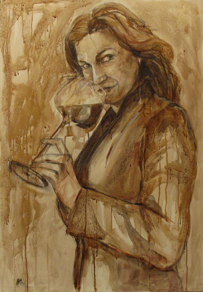 """Natasha"" Wine on Canvas Wine used: Cabernet Franc + Cabernet Sauvignon + Merlot ""Podere Sapaio"" 70 x 100 cm 2011"