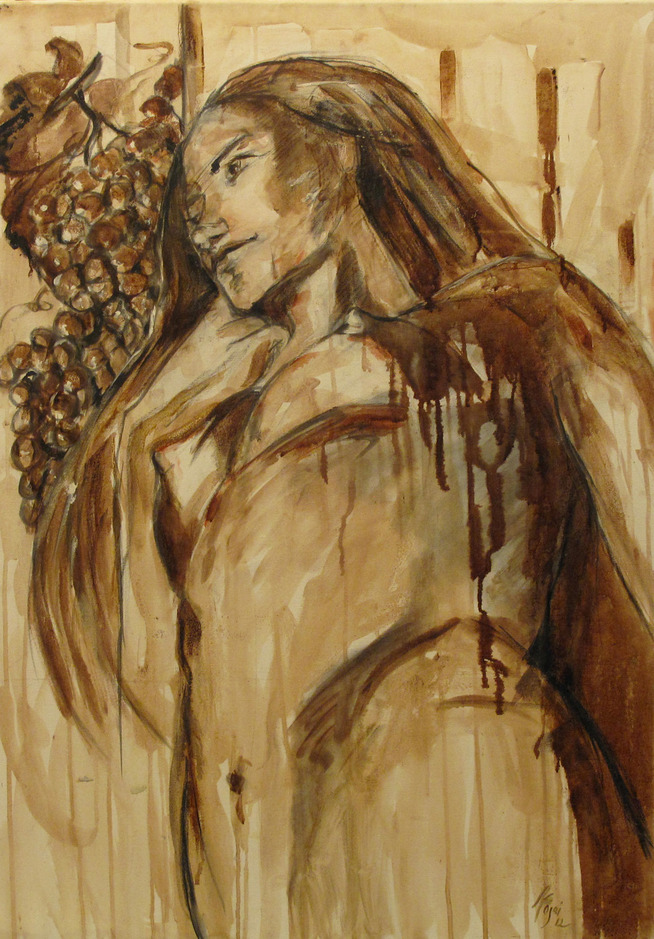 """She, David""   Wine on Canvas    Wine used: Sangiovese + Colorino ""Artimino""   70 x 100 cm    2012"