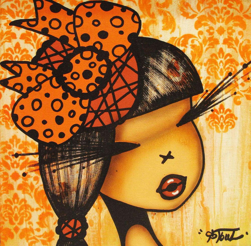 """Baroko Fluo Orange"" Acrylic on Canvas 30 x 30 cm 2013"