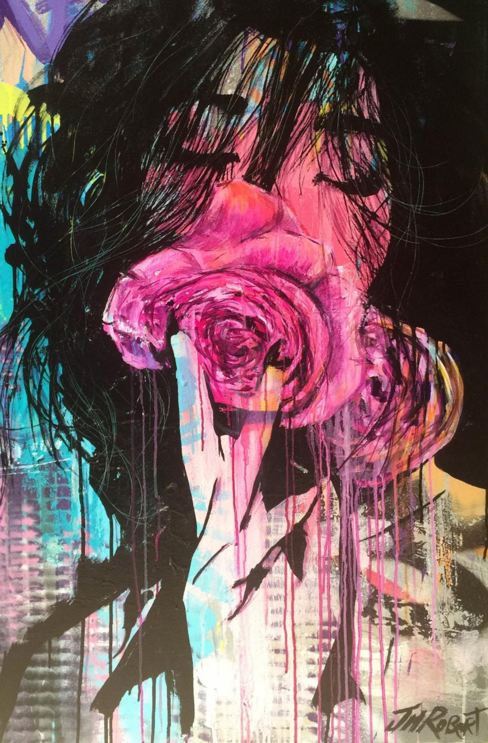"""Elle a ressenti le bonheur"" / ""She felt happiness"" Spray, Ink, Acrylic 116 x 81 cm 2015"