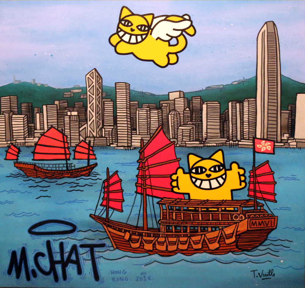 """Hong Kong NT"" Acrylic and sprays on Canvas 100 x 100 cm 2016"