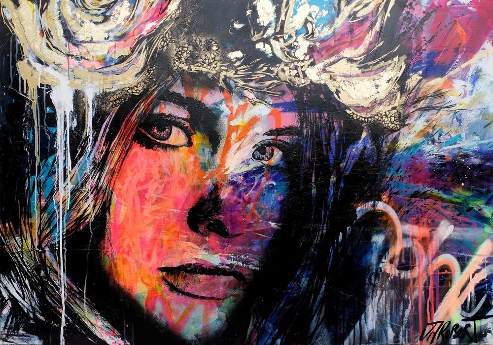 """Sans artifices""  Spray, Ink, Acrylic 116 x 81 cm 2016"