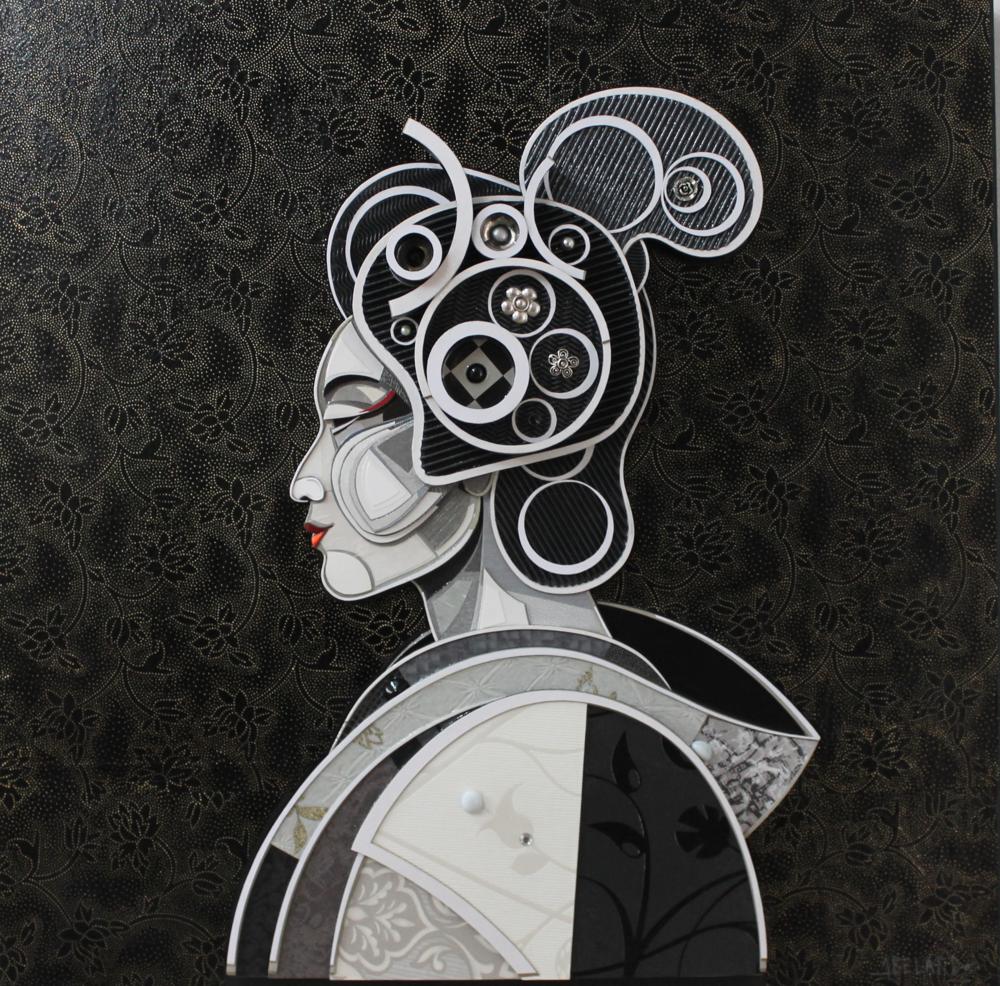 """""""Perfil de Geisha"""" / """"Geisha Profil"""" Mixed Media 100 cm x 100 cm 2016"""