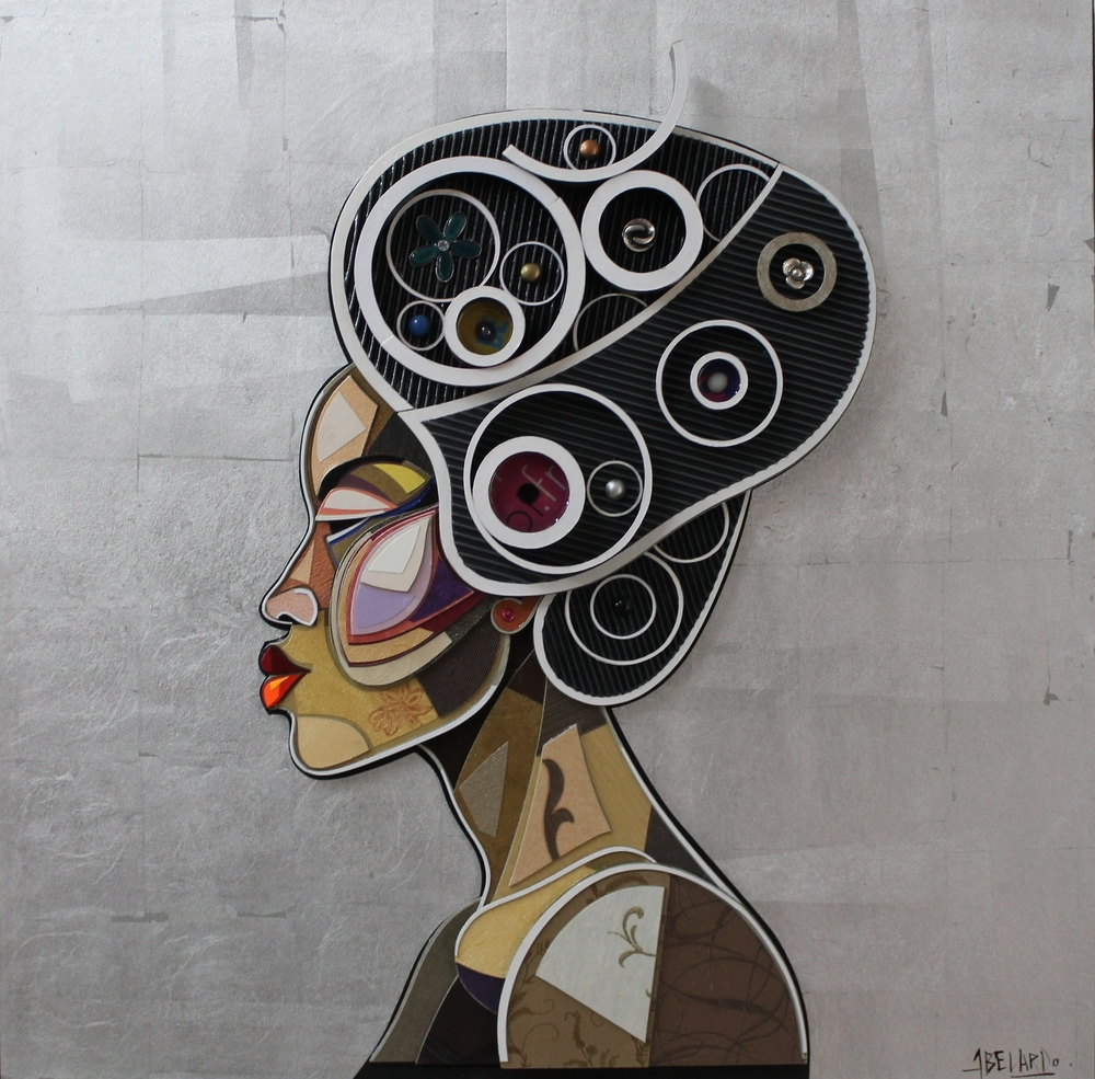 """""""Perfil de Africana"""" / """"African Profil"""" Mixed Media 100 cm x 100 cm 2016"""