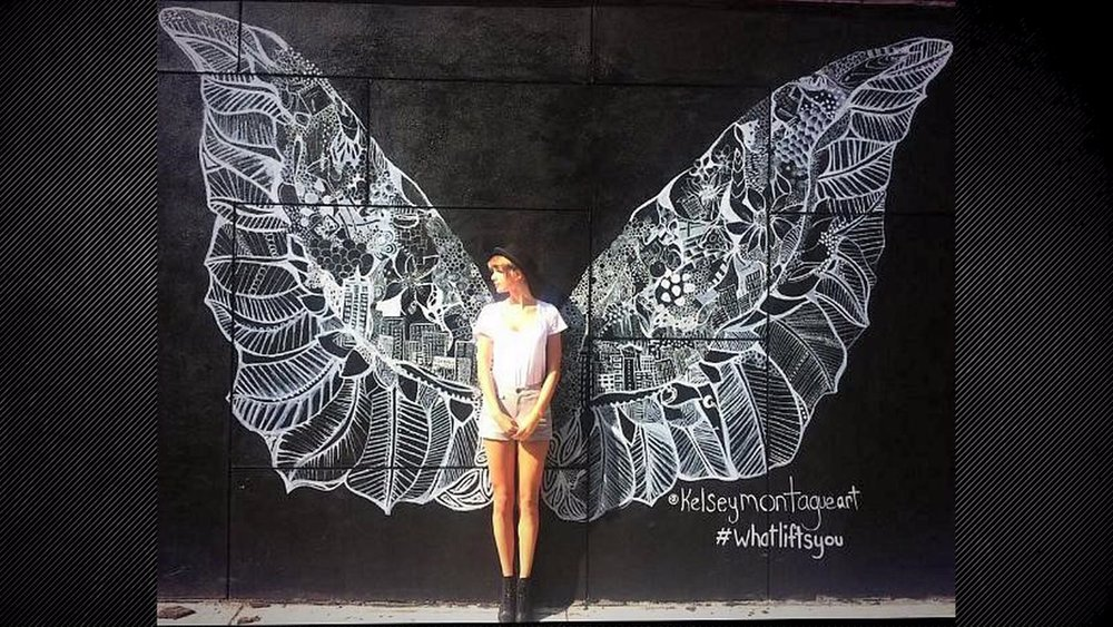 Famous American singer-songwriter   Taylor Swift in front of one of Kesley Montague's wings murals in New York City. Taylor Swift posted this image on her own instagram and got 900,000 Likes so far.