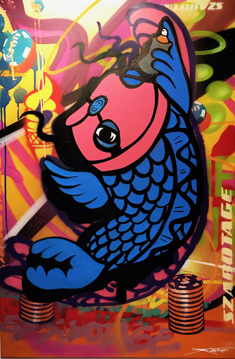 """Balaclava Koi Blue"" Mixed Media Spray Paint and Graffiti Marker 60 x 90 cm 017"