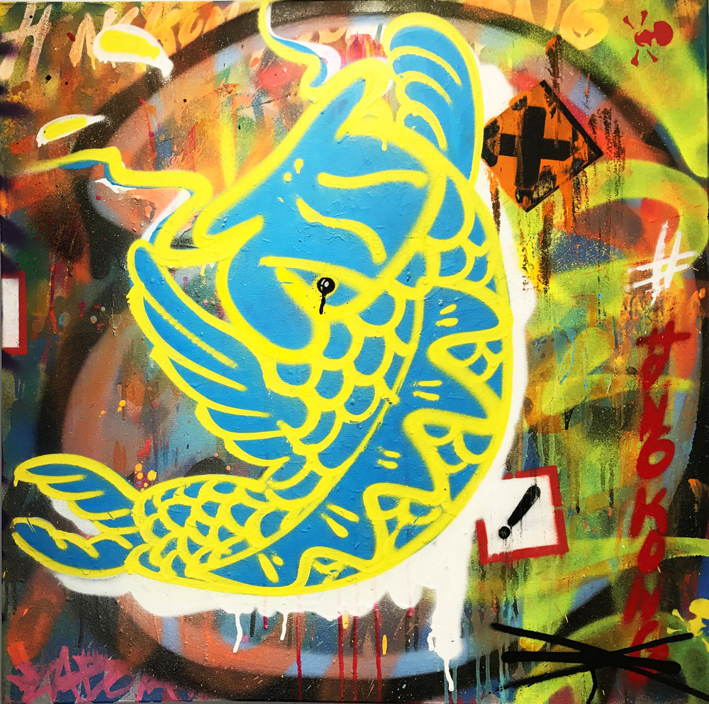 """Koi-D Yellow/Blue"" Mixed Media Spray Paint, Stencil and Graffiti Marker 76 x 76 cm 017"