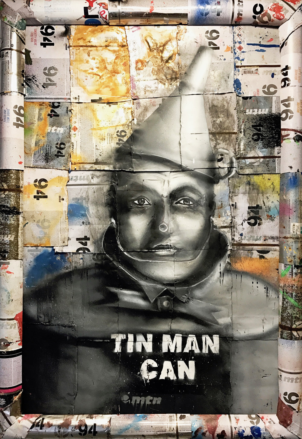 """Tin Man Can"" Stencil and Hand Spray Paint on Deconstructed Can Background 60 x 90 cm 2017"