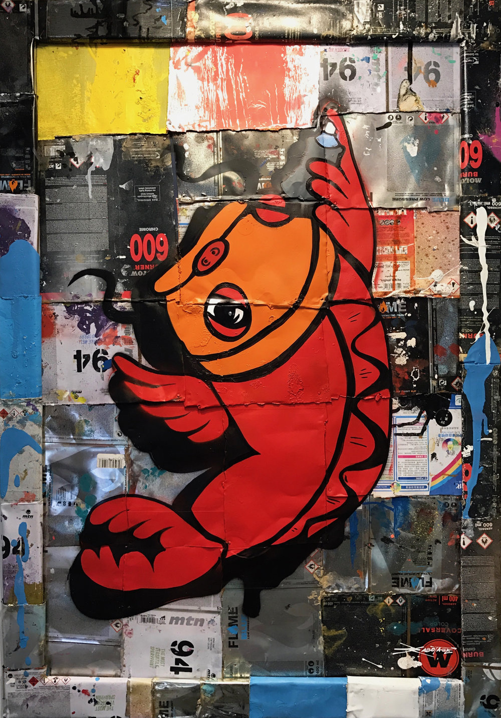 """Tinned Koi"" Stencil Mixed Media Spray Paint and Graffiti Markers 60 x 90 cm 2017"