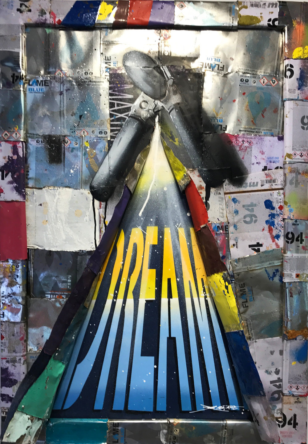 """Can Open Dreams"" Stencil Mixed Media Spray Paint and Graffiti Markers 60 x 90 cm 2017"