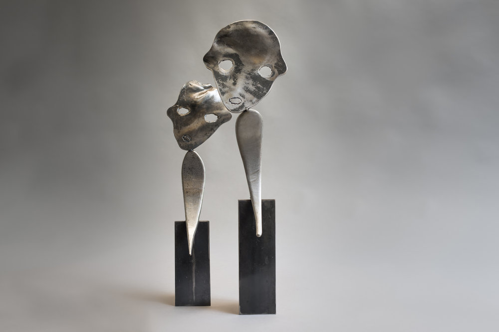 """""""Twin 1"""" and """"Twin 2"""" Welded Metal 78 x 22 x 20 cm and 65 x 18 x 23 cm 2015"""